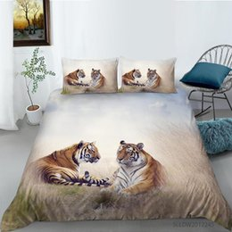Discount couples bedding sets Fashion 3D Tiger Couple Printing Bed Linen Set Bedding Set Bedclothes 2 3pcs with Pillowcase Home Decor