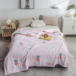 blanket duvet cover UK - Luxury cotton Summer Quilts twin single queen Blankets High quality Bed Cover Children Adults duvet soft pink fruit Comforters