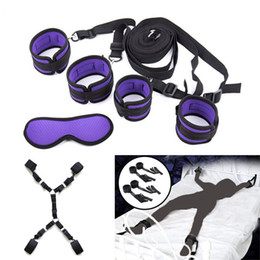 Discount adult pink bedding sets Handcuffs Bondage Erotic Under Bed Sex Restraint System Games for Adults Wrists & Ankle Cuffs Sexy Lingerie Set Y201118