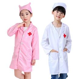 Niños doctor enfermera uniformes fantasía traje de juego para niñas niñas enfermera doctor cross coat niños cosplay fiesta juguetes conjunto trajes LJ201214 en venta
