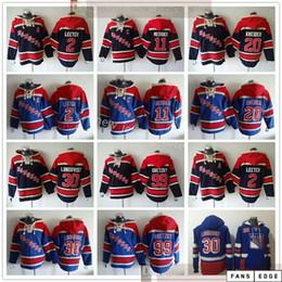 Nueva York Rangers Hockey Sudaderas con capucha Jerseys 30 Henrik Lundqvist 99 Wayne Gretzky 11 Mark Messier 2 Brian Leetet 20 Chris Kreider Blue Sudaderas con capucha en venta