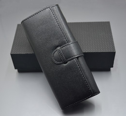 Wholesale Luxury Black leather Pen case Double pen Holder high quality stationery office school supplies pen Bag As Gift