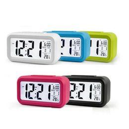 Smart Sensor Nightlight Digital Réveil avec thermomètre Thermomètre Calendrier Table de bureau Silent Horloge WATC en Solde