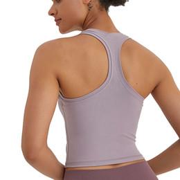 venda por atacado Sexy yoga colete t-shirt cores sólidas mulheres moda ao ar livre yoga tanques esportes rodando ginásio tops roupas l-08