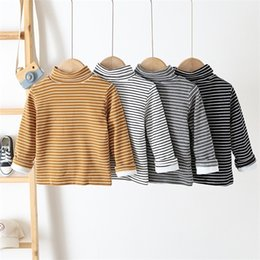 2020 Inverno nuovo camicia a righe per bambini Plus Velvet Boys and Girls T Shirt Korean All-Match Baby Turtleneck Top Tees Z1119