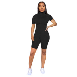 Wholesale plus size peplum coat resale online - Womens Tracksuit Solid Summer Two Piece Set Clothing High Neck Short Sleeve Zipper Front Coat and Biker Shorts Causal Plus Size Outfits