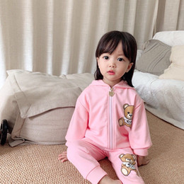 Wholesale clothing girl casual free shipping resale online - Baby Boy girls Clothing Set Kid Girl Autumn spring Long Sleeve jacket Pants Suit Children Sport Tracksuits