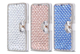 iphone 5c clear UK - Galaxy Note Edge plus Phone Cell flip Cover Case Diamond Stand Luxury S7 for Iphone 7 6s cover 5 5C S6 S5 case Mqhdw