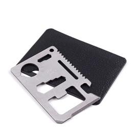 venda por atacado Hunting Camping Sobrevivência Bolso Faca 11 em 1 multi ferramentas Faca de cartão de crédito de aço inoxidável Ferramentas de sobrevivência de engrenagem