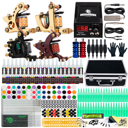 Complete Tattoo kit 4 Machine Guns 40 Color Inks Power Supply Needles Tips Grips Set D139GD-16 on Sale