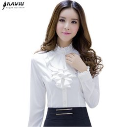 Wholesale high ruffle collar blouse resale online - Naviu High Quality White Blouse Fashion Female Full Sleeve Casual Shirt Elegant Ruffled Collar Office Lady Tops Women Wear
