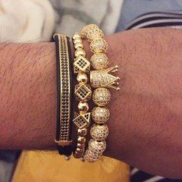 Classical Handmade 3Pcs Sets Braiding Bracelet Sets Gold Hip Hop Men Pave CZ Zircon Crown Charm Bracelet Sets Jewelry on Sale