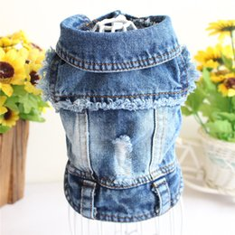 Wholesale designer jeans resale online - Pet Clothes Designer Dog Clothes for Small Dogs Cool Black Jeans Jacket for French Bulldog Denim Coat Dog Outfit for Chihuahua