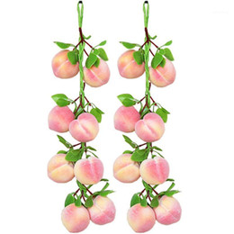 artificial vegetables home decor Australia - 2Pcs set Artificial Peach Fruit String Fake Vegetables Hanging Home Garden Decor Artificial Peach Strings1