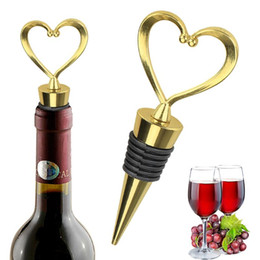 Wholesale Heart Shaped Metal Wine Stopper Bottle Stopper Party Wedding Favors Gift Sealed Wine Bottle Pourer Stopper Kitchen Barware Tools KKD1722