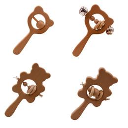 Опт DIY Beech Baby Tehter деревянный медведь кролик сова колокольня ремесел ремесел детские игрушки новорожденные моляры зубов игрушка бусина веревка 4mj g2