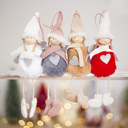 Discount plush toy dolls angels Christmas Decorations Doll Pendant Christmas Cute Angel Plush Doll Christmas Tree Decoration Pendant Kids Toys Wholesale