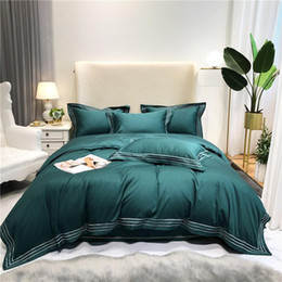 king sized bedding sets Canada - Embroidered Linen Hotel Premium Duvet Cover Sheet Set Egyptian Cotton Soft Easy care Queen King size Green Grey Bedding set