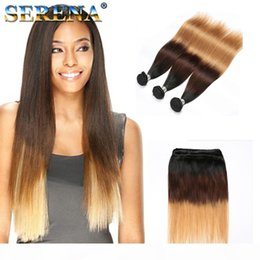 straight wavy hair weave NZ - Blonde Human Hair Weaves 1B 4 27 Malaysina Peruvian Brazilain Straight Wavy Virgin 3 Bundles Three Tone Ombre Hair Wefts Extensions