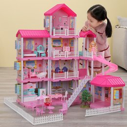 castle doll houses Canada - QWZ New Baby DIY Doll House Girls Pretend Toy Handmade Castle Dollhouse Birthday Gifts Educational Toys Doll Villa for Girl Y200704