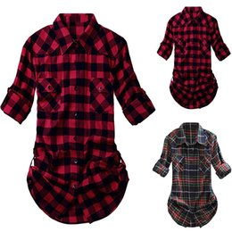 Wholesale flannel shirts womens resale online - Womens and Blouses Tartan Plaid Flannel Shirts Roll Up Sleeve Casual Tops Button Down Blouse Blusas Mujer De Moda a20