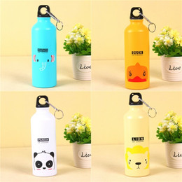 Discount sport testing Aluminum Cartoon Water Bottles With Animals Button Lion Duck Cute Sports High Capacity Cup Drinkware Adult Children Mug