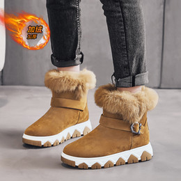 2021 winter new snow boots trend middle top Plush warm feet casual fashion thick soled women's shoes Australian furry Wgg snow booties on Sale