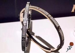 Wholesale Year Luxury Stainless Steel Gypsophila Bangle Narrow Heart Charm White Gold Rose Full Diamond Double Row Diamonds