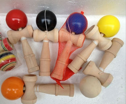 traditional japanese wooden toys UK - Kendamas 20X Toy 18.5cm Wood Funny Japanese Traditional Ball colorful Kendama PU Paint wooden toys