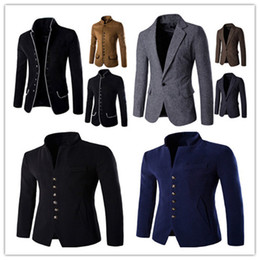 blazer herren großhandel-Autumn Solid Herren Blazer Casual Designer Mens Slim Clothing Fashion Mens Oberbekleidung mit Single Breasted