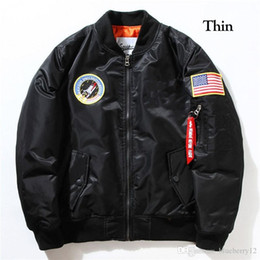 мужские пиджаки-бомбардировщики оптовых-Fall Flight Pilot Jacket Coat Bomber Ma1 Men Bomber Jackets Nasa Embroidery Baseball Coats M XXL