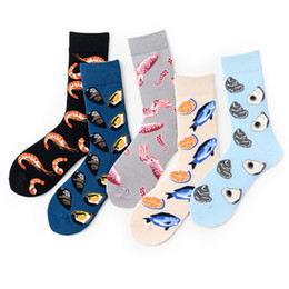 Wholesale crazy socks resale online - Novelty Happy Funny Men Graphic Socks Combed Cotton Omelette Frog Crazy Burger Salmon Corn Avocado Bird Fish Sock Christmas Gift HHE2784