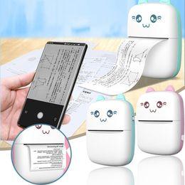 Portable Bluetooth Mini Thermal Printer 203dpi Wireless Pocket Foto Etikett Multifunktionsskrivare för Android iOS telefonfönster