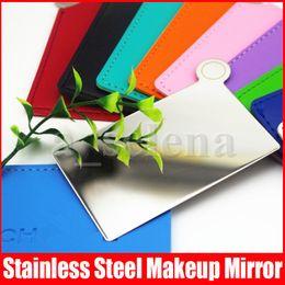Vente en gros Miroirs de maquillage en acier inoxydable célèbre incassable Miroirs de poche compacte Miroir minuscule Porte-miroir de portefeuille pour maquillage