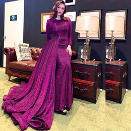 Discount belts summer Luxury Glitter Sequin Mermaid Evening Dresses with Remove Train O Neck Long Sleeve Overskirt Bead Belt Celebrity Prom Dr
