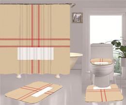 Cool Print Shower Curtains Sets High-grade Four-piece Must Set Bathroom Anti-peeping Non-slip Deodorant Bath Toilet Mats on Sale