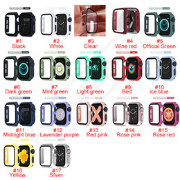 Colorful PC Hard Bumper Case With Tempered Glass for iWatch 1 2 3 4 5 Full Protection Covers 38mm 40mm 42mm 44mm Watchband In Retail Box on Sale