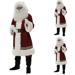 father christmas suits UK - Men's Santa Claus Costume Father Christmas Fancy Budget Outfit Suit Adult Coat1