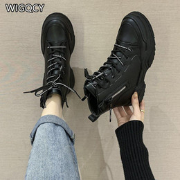 lace up ankle boots women 2021 - 2021 New Autumn Winter Women's Thick-Soled British Style Boots Women's Zipper Short Boots Motorcycle Women