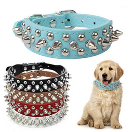 leather dog collar rivet 2021 - PU Leather Pet Collar Spiked Rivet Studded Dog Collars Adjustable Pet Necklace Punk Style Neck Belt For Small Dogs Cats1