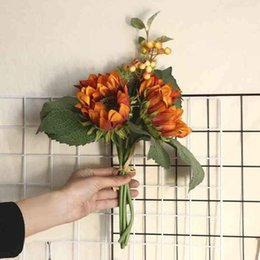 sunflower home decor Canada - Artificial flowers 4 Heads Beauty Fake Sunflower Artificial Silk Flower Bouquet Home Floral Decor flores artificiales