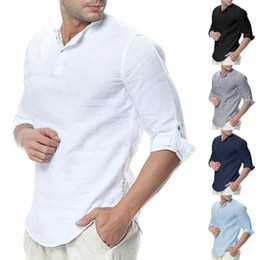 Wholesale linen shirt mens resale online - New Mens Shirts Summer Long Sleeve Cotton Linen Casual Breathable Shirts Solid Color Male Mens Casual Slim Fit