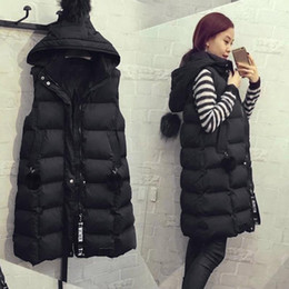 Wholesale long puffer vest for sale - Group buy Autumn Winter Cotton Vest Plus Size Hoodie Waistcoat Vest Gilet Casual Jacket Coat Outwear Sleeveless Long Puffer Coats1