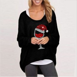 Wholesale womens christmas shirts resale online - Loose Irregular T Shirts Womens O Neck Long Sleeve Pullover Top Spring Autumn Fall Casual Christmas Women T Shirts
