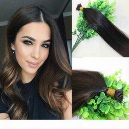 Venta al por mayor de 100strands 100g Set PRE-BONDED Brazilian Remy Human Hair Extension I Stick Tip Extension Balayage Ombre Dark Brown Highlight