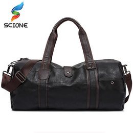 orange baseball bags NZ - Hot Men's Large Capacity PU Leather Sports Bag Gym Bag Fitness Sport Bags Travel Shoulder Handbag Male Bag Black Brown J1209