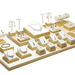 Счетчик ювелирных изделий Стенд дисплей белый из искусственной кожи ювелирных изделий ярмарка витрины дисплеи реквизит серьги кольцо подвеска ожерелье браслеты держатели на Распродаже