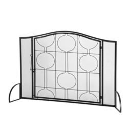 Опт Украшение гостиной кованые камин экран одна дверная сетка с геометрическим рисунком Черный на складе