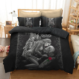 king queen gifts NZ - Motorcycle Beauty Skull Bedding Sets Bohemian Duvet Cover Pillowcase Twin Full Queen King Size Bedclothes Best Gift Bedline LJ201015