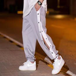 boys basketball pants 2021 - 2021 Men Casual Sweatpants Straight Elastic Waistband Button Down Joggers Pants Hiphop Basketball Boys Jogger Bottoms Hq